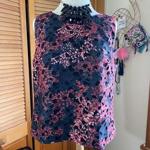 Vince Camuto lace lined tank career top